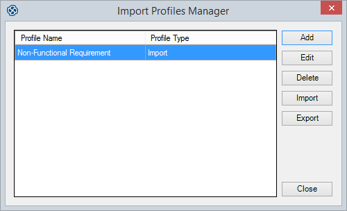 ... Doorsu0027 dialog the u0027Import Profiles Manageru0027 dialog displays. You use this dialog to create or import new profiles edit or delete existing profiles ...  sc 1 st  Sparx Systems & Import Requirements from DOORS | Enterprise Architect User Guide