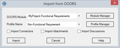 Import Options  sc 1 st  Sparx Systems & Import Requirements from DOORS | Enterprise Architect User Guide