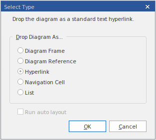 the drop diagram as dialog allows a user to select from the different  diagram hyperlink styles