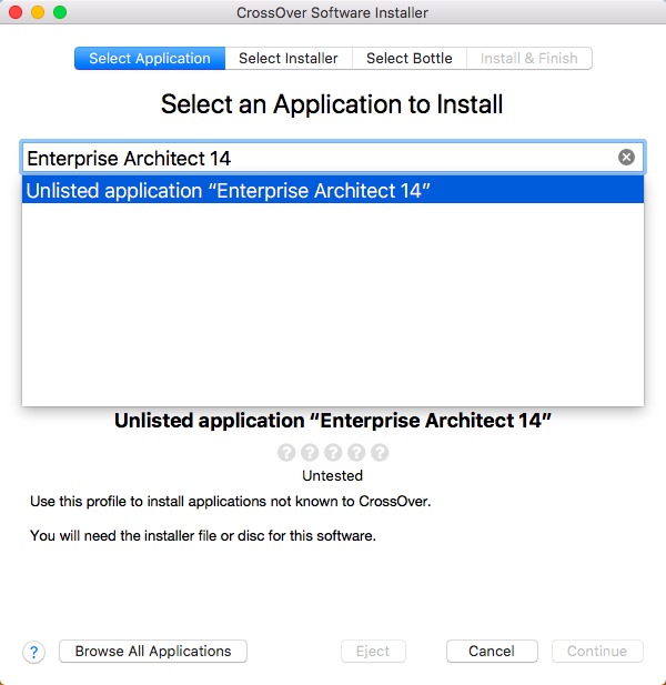 Installing Enterprise Architect using CrossOver | Enterprise