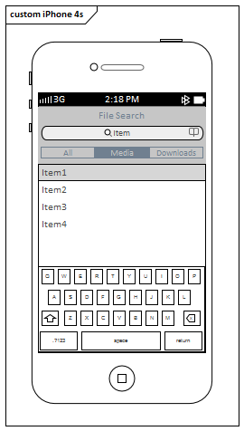 Example IPhone 4s Wireframe Vertical Aspect In Sparx Systems Enterprise Architect