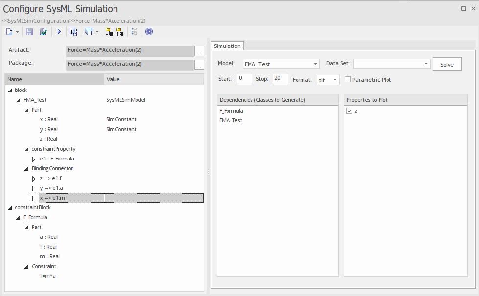 Configure SysML Simulation Window | Enterprise Architect