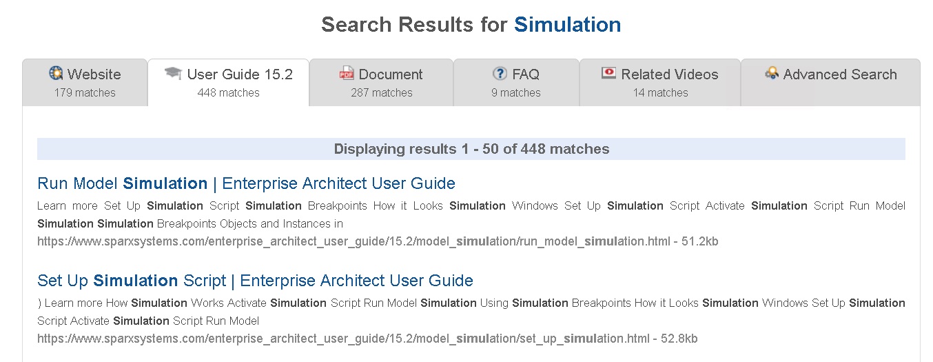 Userguide search results.