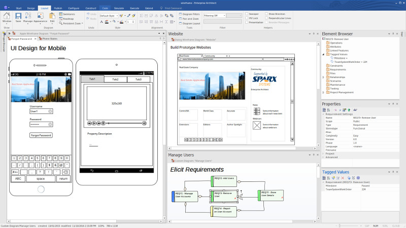 Prototype designs for mobile, web and console applications - Enterprise Architect