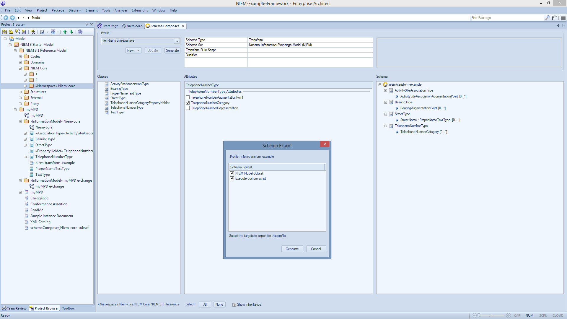 NIEM 3.1 Framework and Schema Composer