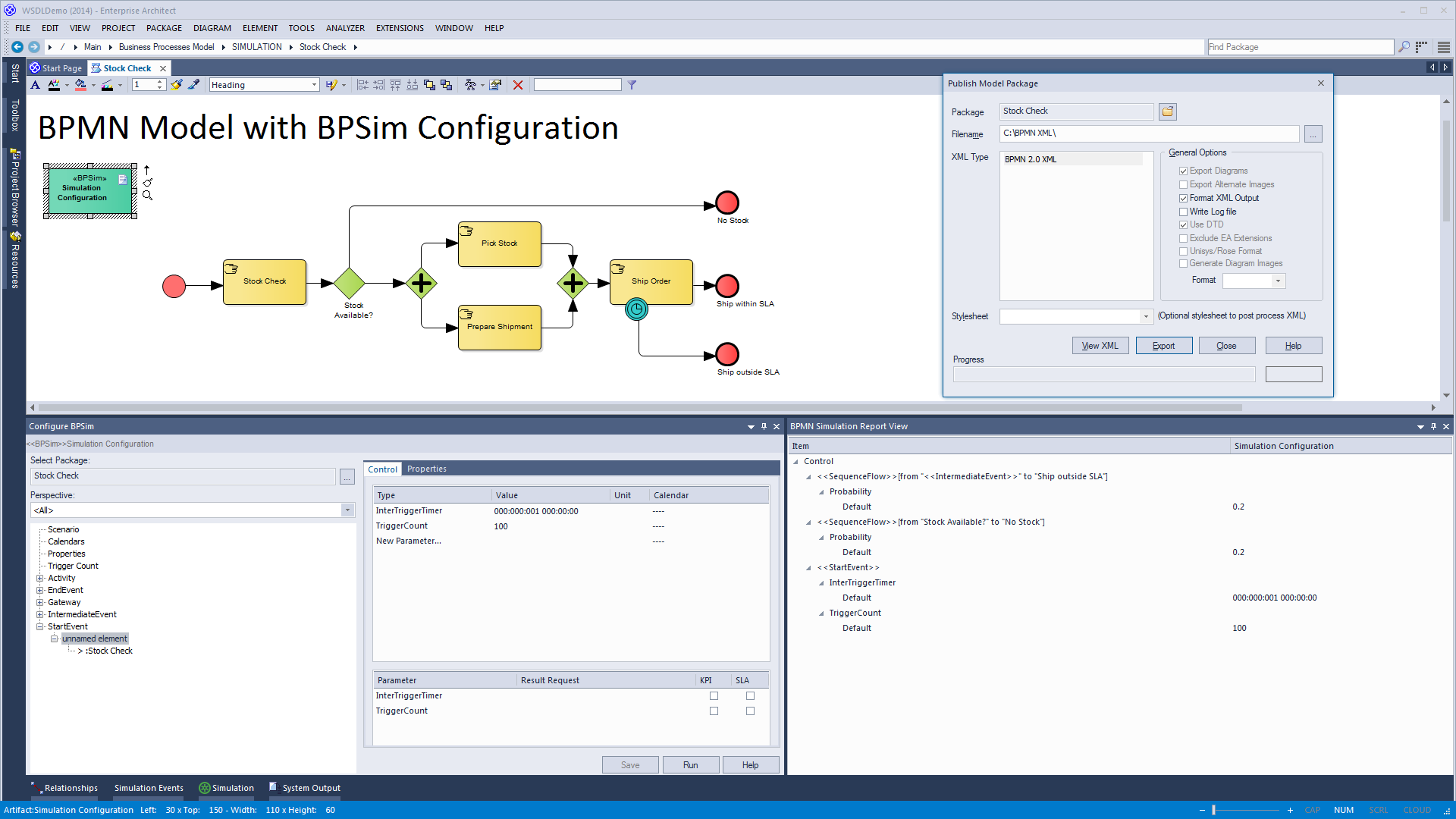 BPMN Simulation Report View