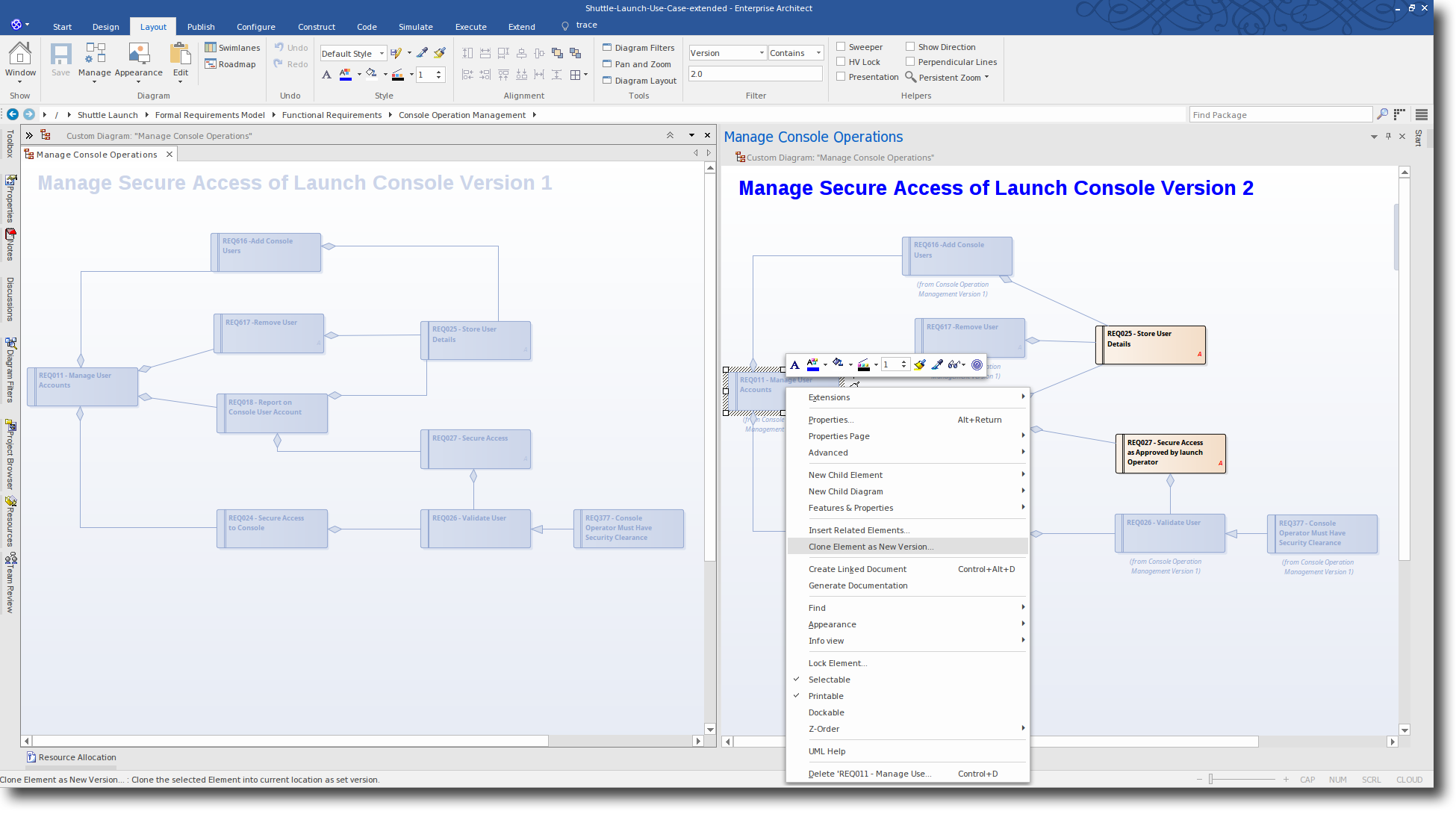 Enterprise Architect 13: Time Aware Modeling - Create a Clone Element as New Version