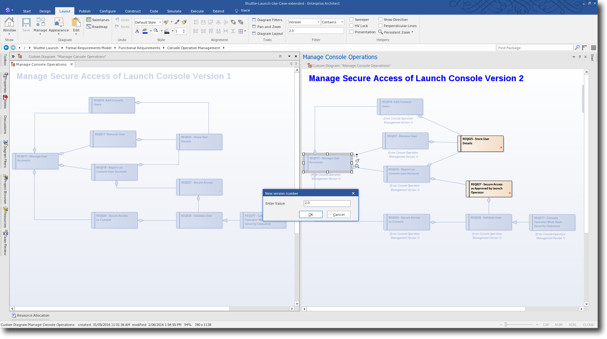 Enterprise Architect 13: Time Aware Modeling - Enter New version Number for Cloned Element
