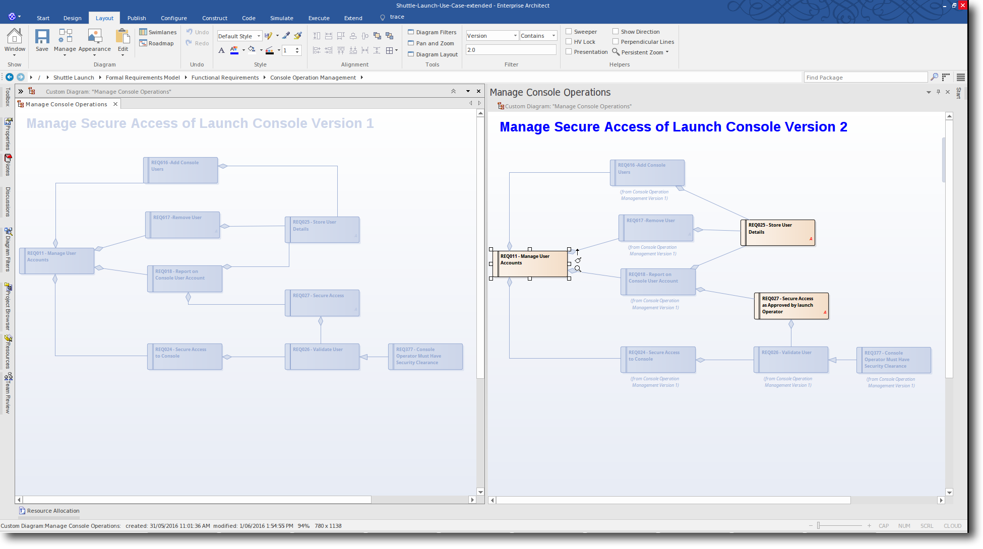 Enterprise Architect 13: Time Aware Modeling - New Version 2.0 Cloned Element is displayed on-screen