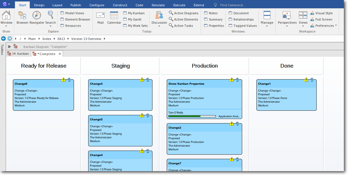 Enterprise Architect 13: Project Management using Kanban
