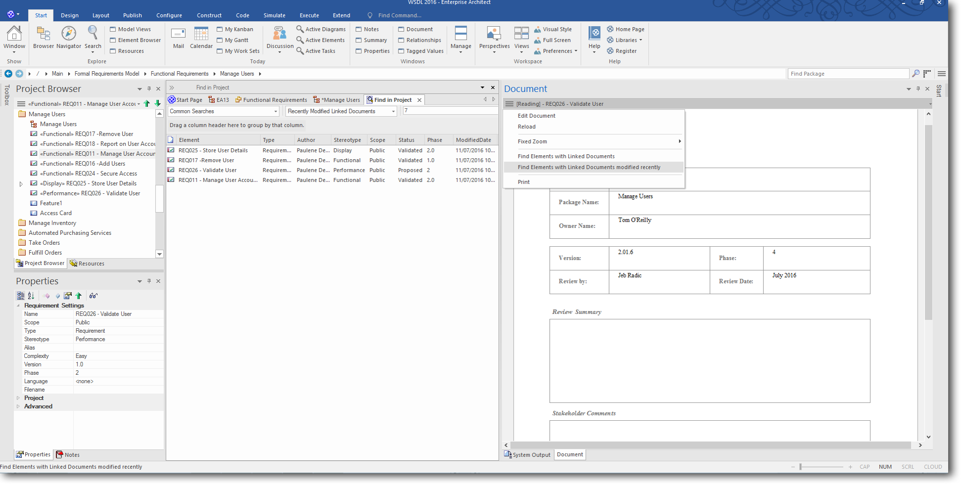 Enterprise Architect 13: Dynamic Documents - Find Elements with Linked Documents modified recently