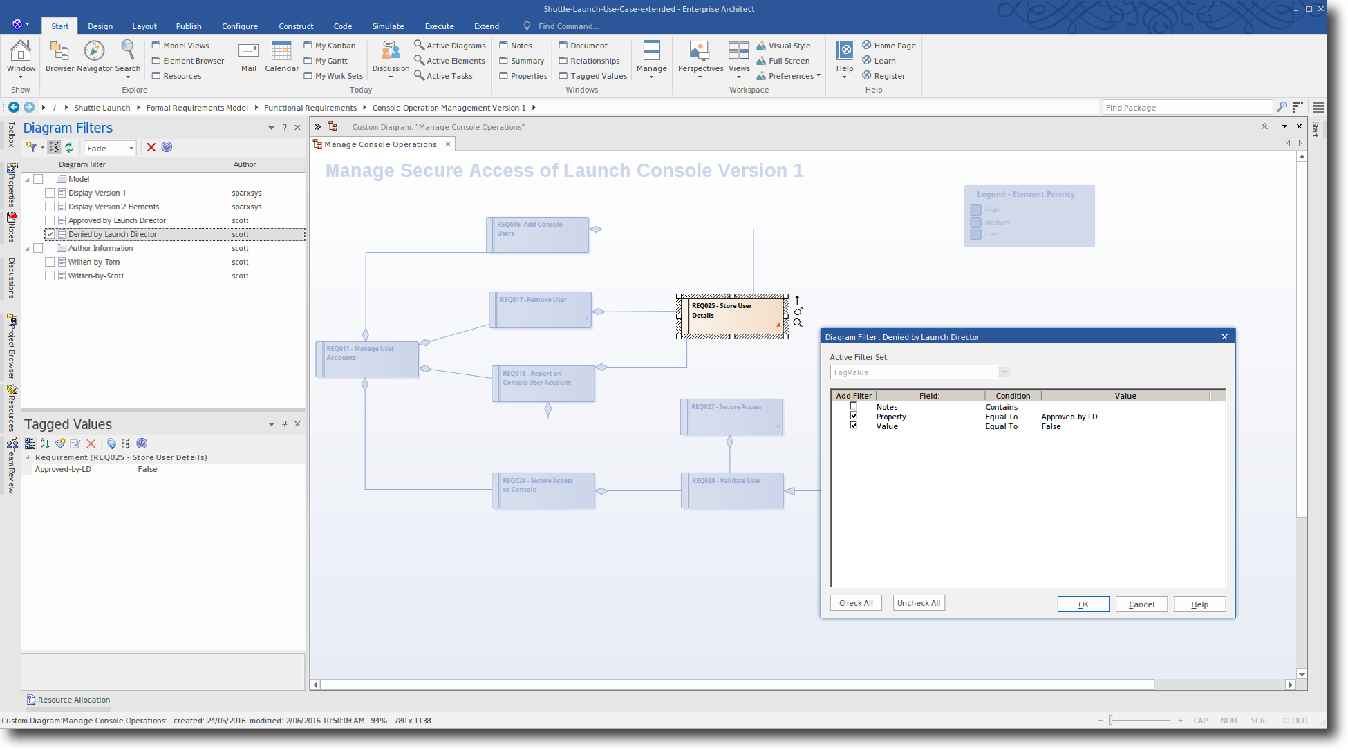 Enterprise Architect 13: Diagram Filtering - Configure Diagram Filter for false entry