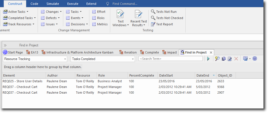 Enterprise Architect 13: Searches and Charts - Search for completed tasks