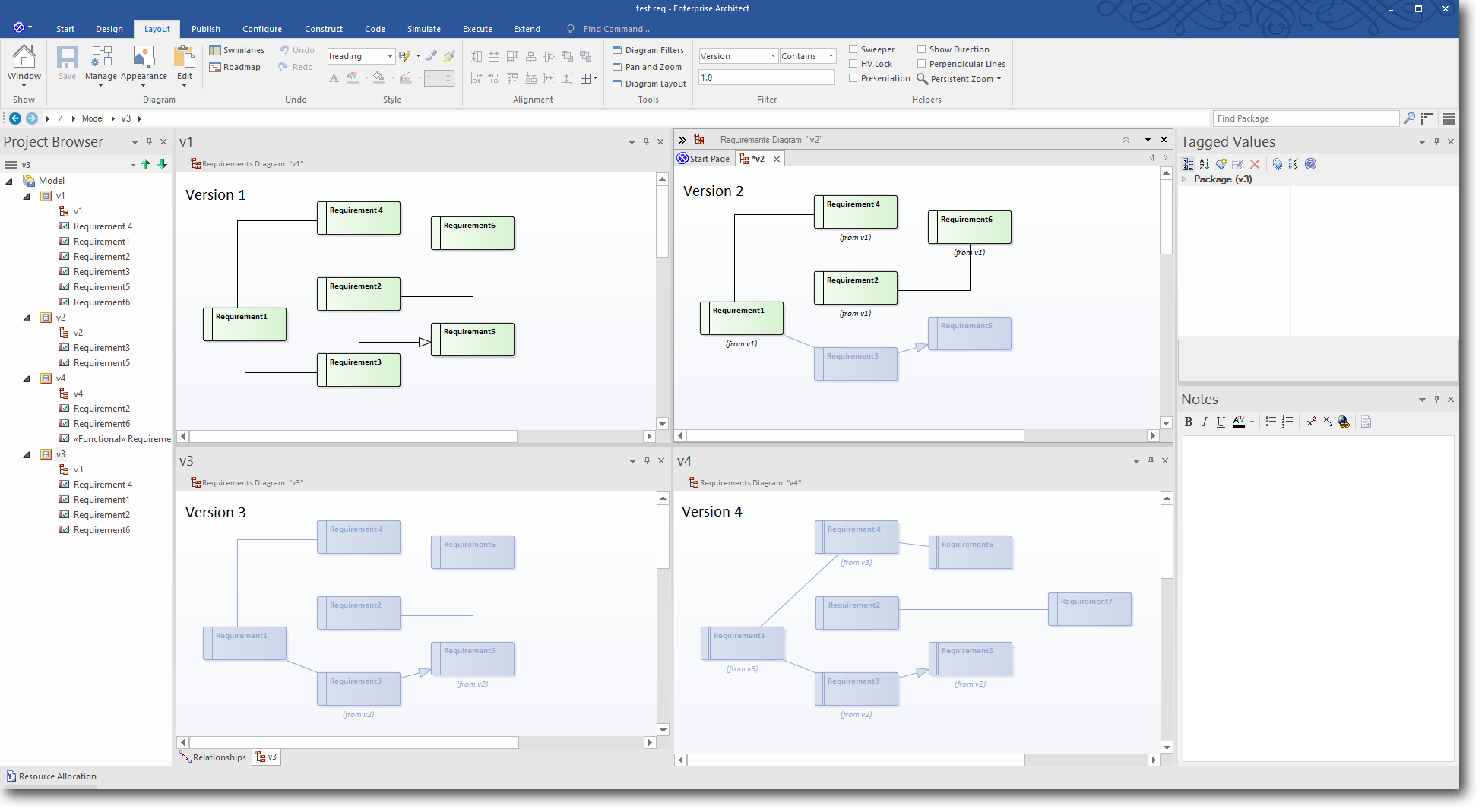 Enterprise Architect 13: Time Aware Modeling - Using a Diagram Filter to highlight Version 1.0 elements