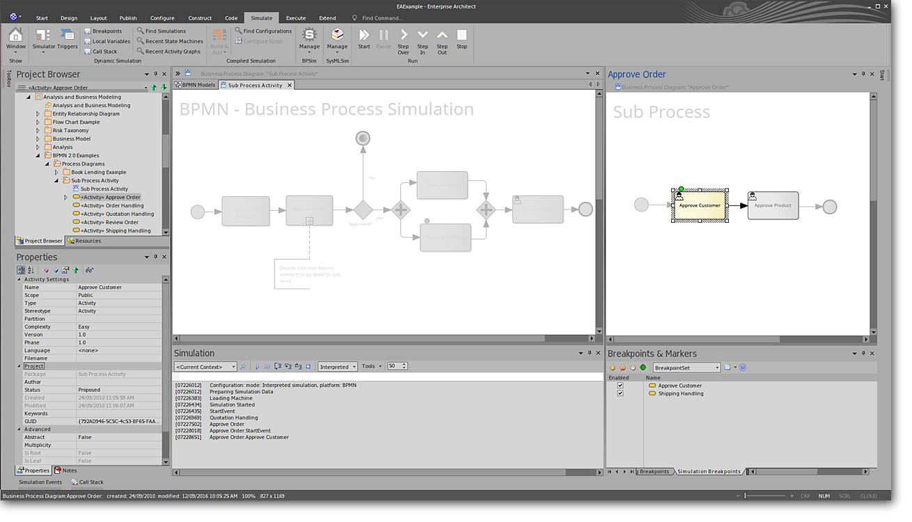 Enterprise Architect: Business Simulation (Office 2016 Dark Grey Visual Style)