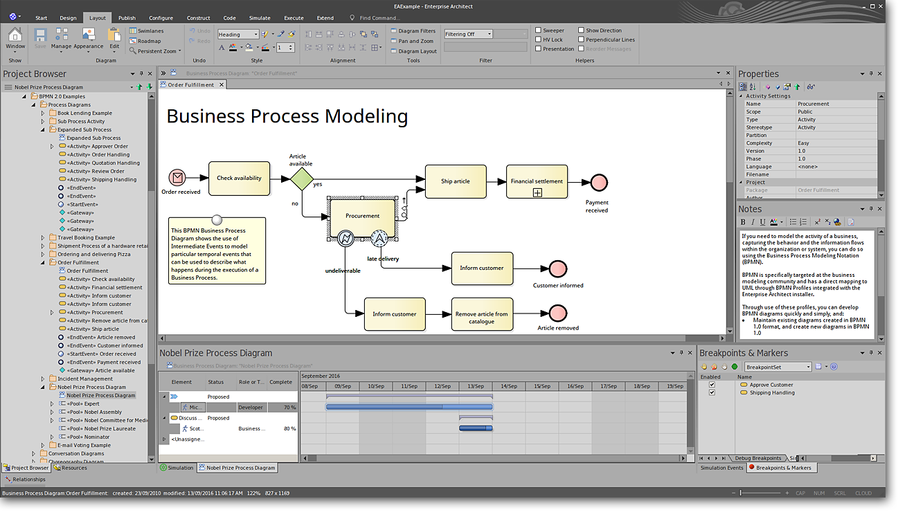 Enterprise Architect: High Value, End-To-End Modeling - Business Process Modeling (Office 2016 Dark Grey Visual Style)