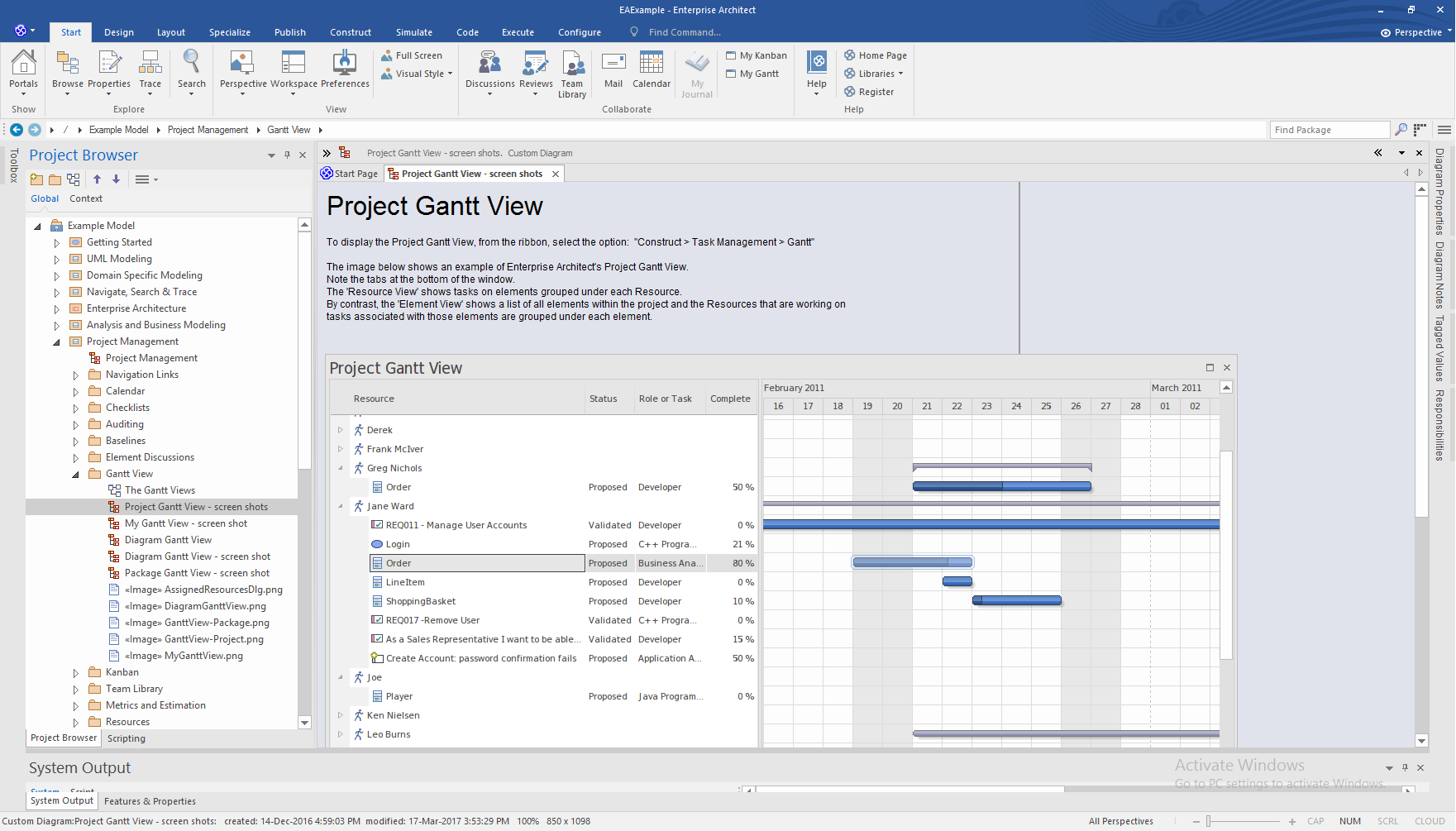 Enterprise Architect professional Edition: Project Gantt