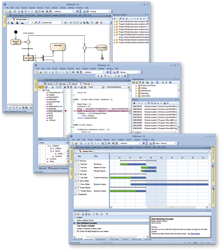 Examples of State machines, Gantt Charts and Code Engineering