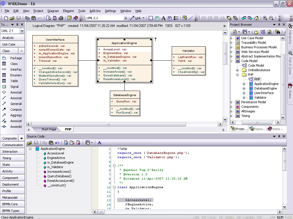 Model PHP UML diagrams for code engineering and generation | Sparx