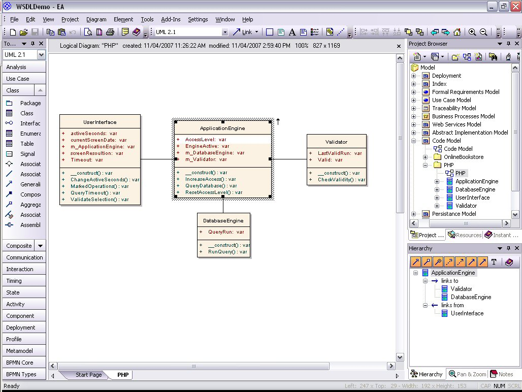 Model Php Uml Diagrams For Code Engineering And Generation