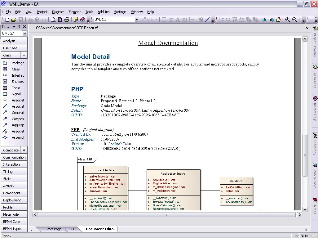 Model php uml diagrams for code engineering and generation php uml rtf view ccuart Image collections