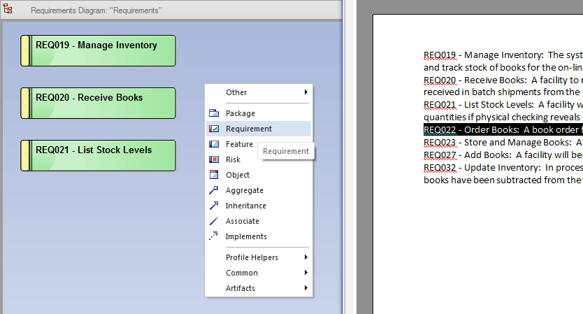 figure 5 enterprise architect allows you to drag selected text from an editor and drop it onto a diagram to create a new requirement element in your model - Visio File Editor