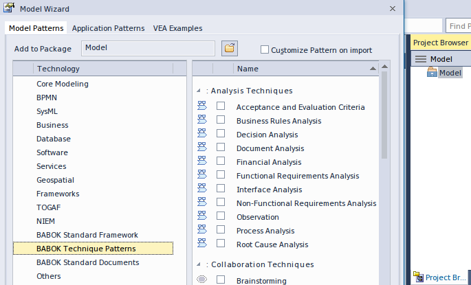 Enterprise architect resources babok guide v3 tutorial create a babok guide v3 tutorial creating a general model the model wizard fbccfo Image collections